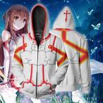 Sword Art Online Asuna Cosplay Zip Up Hoodie Jacket