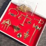 Yu Gi Oh Necklace Keychains Pendant Millenium Emperor's Cosplay Key Triangle Logo 8pcs/set