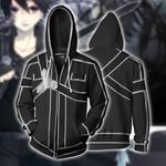 Sword Art Online Kirito Cosplay Zip Up Hoodie Jacket