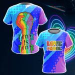Support LGBT Love Is Love Unisex 3D T-shirt