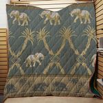 Elephant-Palm 3D Quilt Blanket