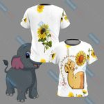 Elephant And Sunflower Unisex 3D T-shirt