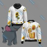 Elephant And Sunflower Unisex Zip Up Hoodie Jacket