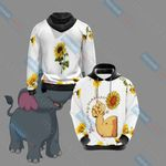 Elephant And Sunflower Unisex 3D Hoodie