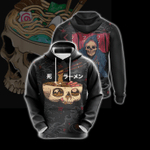 Food Skull Japanese Unisex Zip Up Hoodie
