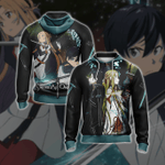 Sword Art Online - Couple Kirito - Asuna Unisex 3D Zip Up Hoodie
