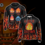 Howl's Moving Castle Calcifer Fire Demon Unisex Zip Up Hoodie