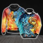 Yugioh - Charizard vs Blue Eyes White Dragon Unisex 3D Hoodie