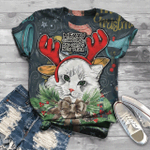 Cat Christmas T-Shirt All Over Print T-Shirt S-5Xl