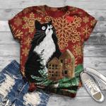Cat Christmas T-Shirt All Over Print T-Shirt S-5Xl