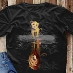Simba Lion King Water Mirror Reflection Shirt Men And Women T Shirt S-6Xl