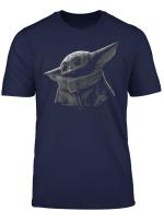 Star Wars The Mandalorian The Child Black Grey Portrait T Shirt
