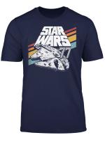 Star Wars Millennium Falcon Retro Rainbow Stripe T Shirt