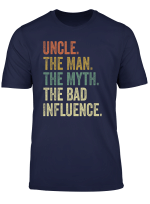 Mens Vintage Fun Uncle Man Myth Bad Influence Funny T Shirt
