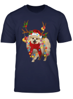 Santa Pomeranian Reindeer Light Christmas Gifts T Shirt