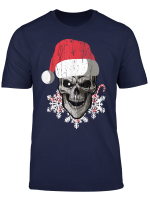 Skull With Santa Hat Snowflakes Candy Funny Christmas Gift T Shirt