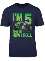 Kids 5 Years Old 5Th Birthday Monster Truck Car Shirt Boy Son