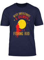 Mens Never Underestimate A Grandpa With A Fishing Rod Funny Gift T Shirt