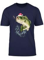 Bass Fishing Santa Hat Christmas Pajama Fishermen T Shirt