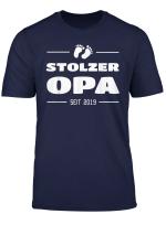 Herren Stolzer Opa T Shirt Seit 2019 Geschenk Zur Geburt Enkel