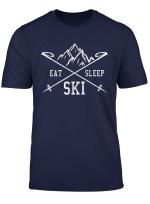 Eat Sleep Ski Repeat T Shirt Skiurlaub Skifahrer Geschenk