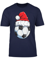 Santa Soccer Ball T Shirt Christmas Boys Men Kids Xmas Gifts