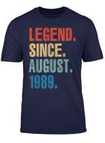 Legend August 1989 T Shirt Vintage 30Th Birthday Decorations