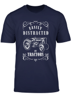 Vintage Funny Graphic Easily Distracted By Tractors Tshirt