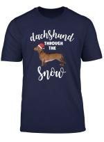 Dachshund Through The Snow Tee Dog Christmas Santa Hat T Shirt