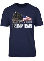 All Aboard The Trump Train 2020 American Flag T Shirt