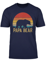 Retro Vintage Sunset Papa Bear Hiking Camping Hunting Gift T Shirt