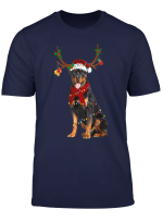 Santa Rottweiler Reindeer Light Christmas Gifts T Shirt