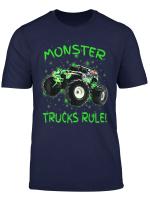 Monster Trucks Rule Bright Green Kids Christmas Gift Shirt
