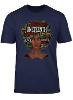 Black Women Natural Hair Afro Word Art Juneteenth T Shirt