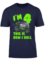 Youth Monster Truck I M 4 This Is How I Roll Toddler Birthday Gift T Shirt