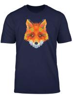 Cool Cute Orange Fox Geometric Graphic Animal T Shirt