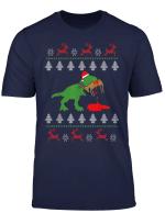 Ugly Christmas Sweater Humor T Rex Rentier Geschenk T Shirt