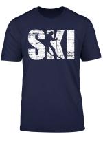 Ski Distressed Look Skifahrer Geschenk T Shirt