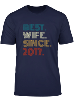 2Nd Wedding Anniversary Retro Gift Best Wife Since 2017 T Shirt