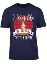 Female Runner Gift 10K Race Retro Vintage I Run Like A Girl T Shirt