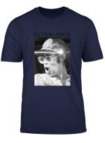 Elton John Official Black White Photo Sequin Cap T Shirt