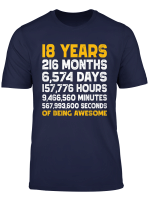Vintage 18Th Birthday Gift T Shirt 18 Years Of Being Awesome