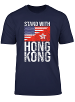 Stand With Hong Kong American Flag Democracy Resist Apparel T Shirt