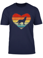 Vintage Heart Wolf Lover Valentine S Day Gifts For Him Her T Shirt