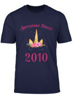 Youth 9Th Birthday Girl Unicorn Shirt Awesome Since 2010 Gift T Shirt
