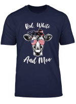 Red White And Moo American Flag Glasses 4Th Of July Cow T Shirt
