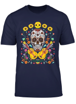 Flower Guitar Skull Funny Halloween Day Of The Dead Gifts T Shirt