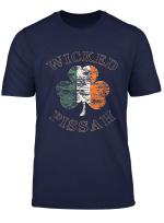 Wicked Pissah T Shirt Distressed Irish Flag Boston Slang Tee