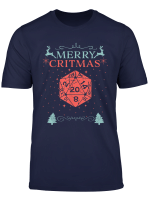 Merry Critmas 20 Sided Dice Rpg Christmas Holiday Board Game T Shirt