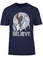 Bigfoot Riding Unicorn T Shirt Funny Sasquatch Vintage Tees